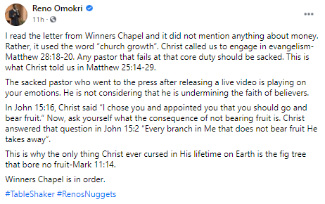 Any pastor that fails in evangelism should be sacked - Reno Omokri backs Winners Chapel