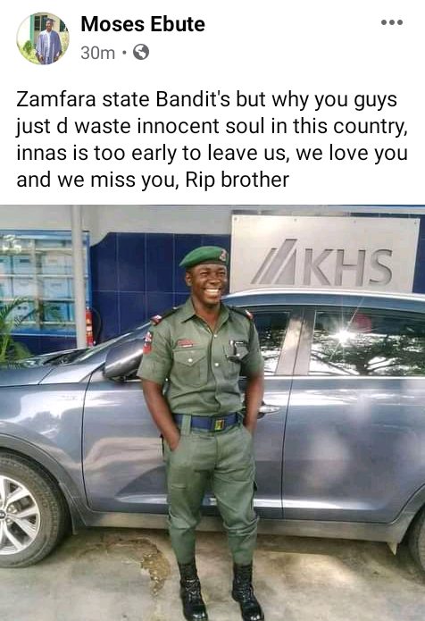 Photo of one of the 13 police officers killed by bandits in Zamfara