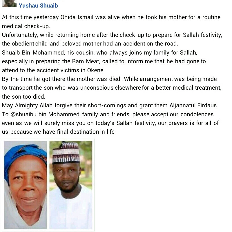 Nigerian man and his mother die in motor accident after taking her to hospital for routine medical checkup