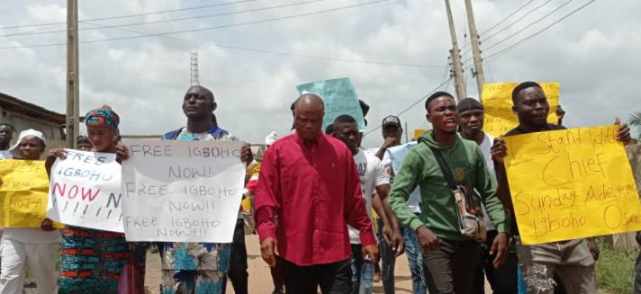 Youths stage protest in Ibadan to demand Sunday Igboho?s release (photos)