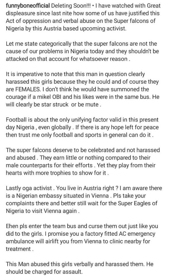 That man harassed them and should be charged for assault - Comedian Funnybone reacts to Super Falcon players being confronted in Austria by Nigerian man