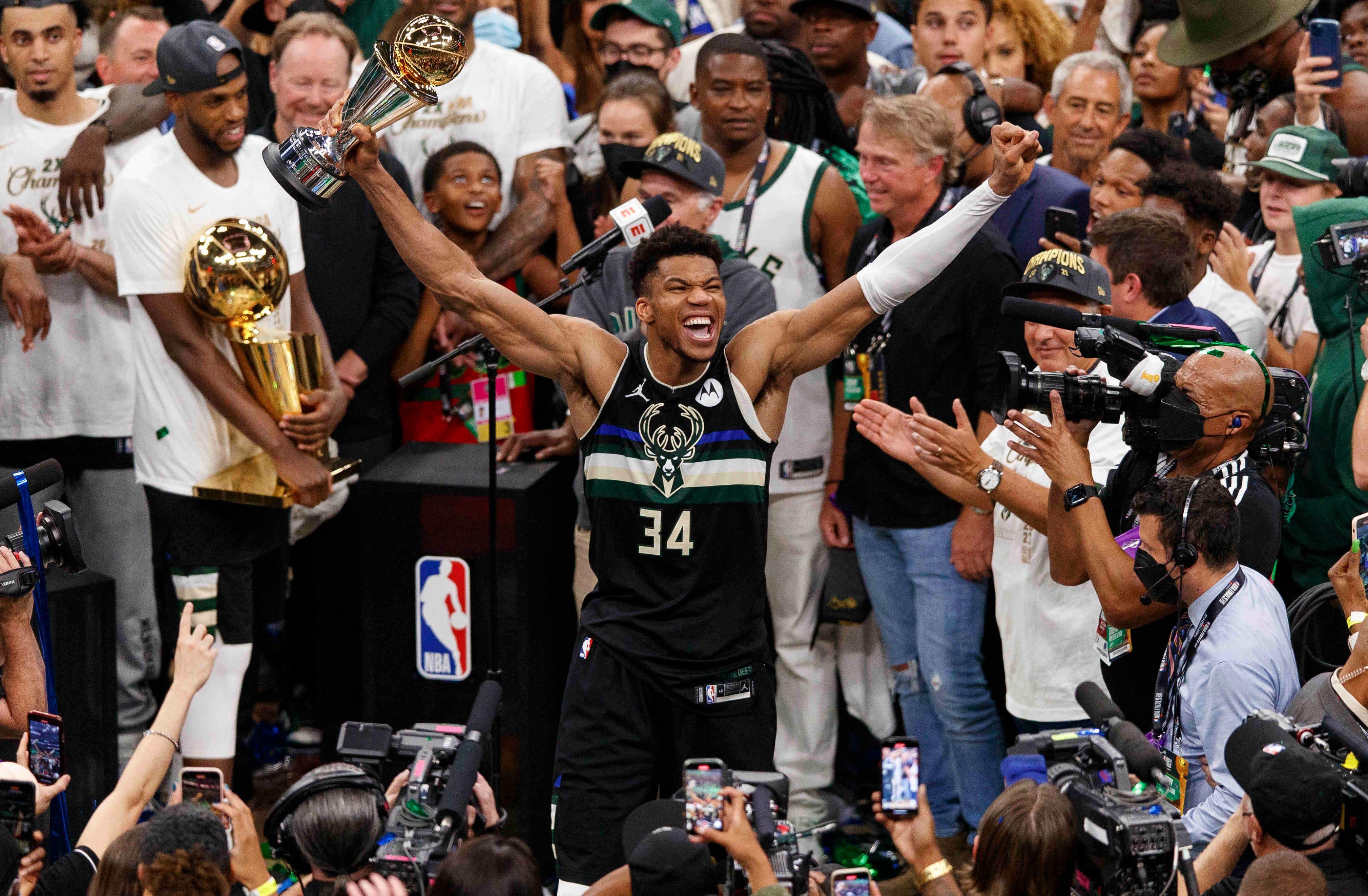 NBA star, Giannis Antetokounmpo joins LeBron James and Michael Jordan after NBA title heroics with Milwaukee Bucks (Photos)