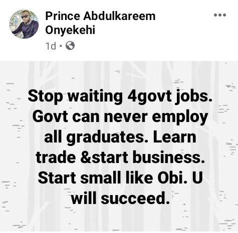 Stop waiting for government jobs. Learn trade and start business like
