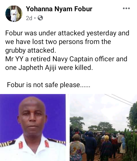 Suspected kidnappers kill retired Navy Captain and his aide in Plateau