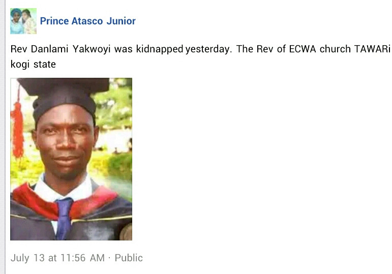 Pastor abducted in Kogi reportedly tortured to death in kidnappers