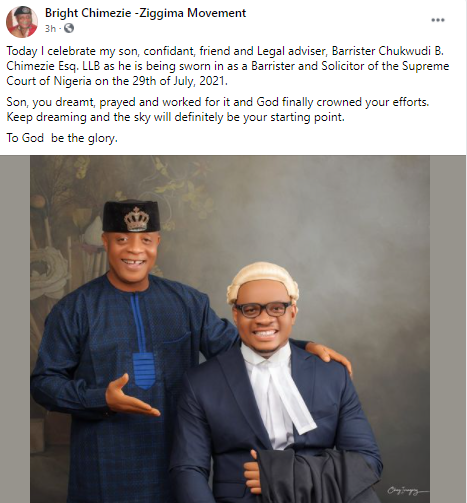 Singer, Bright Chimezie, celebrates his son who recently graduated from Law school