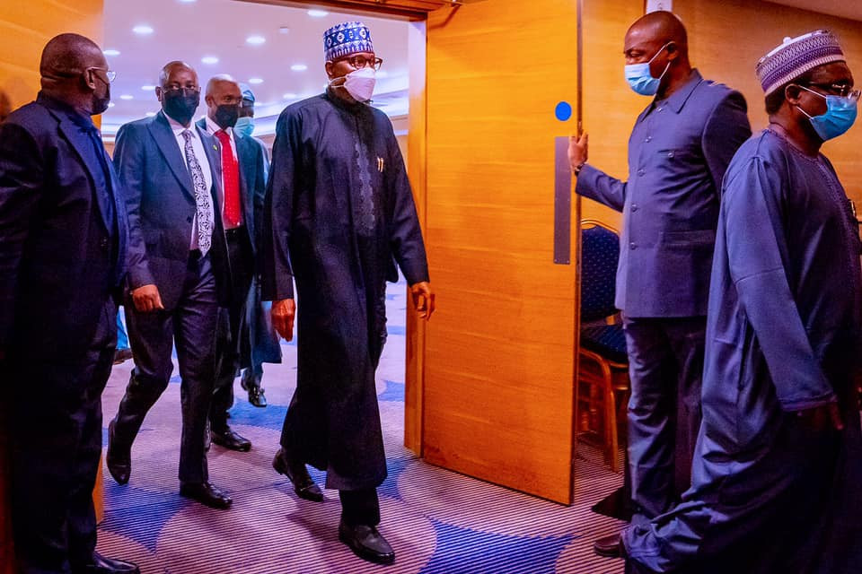 President Buhari presides over Strategy Meeting ahead of his presentation at the Global Education Summit in London (photos)