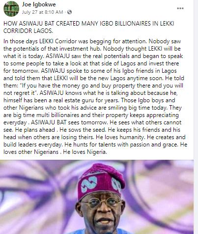 Tinubu created many Igbo billionaires through buying properties in the Lekki area of Lagos- Joe Igbokwe
