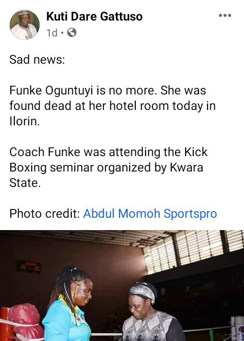 Female kickboxing head coach found dead in Kwara hotel room