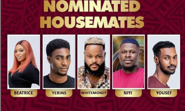 #BBNaija: WhiteMoney, Beatrice, Yerins, Yousef and Niyi nominated for eviction