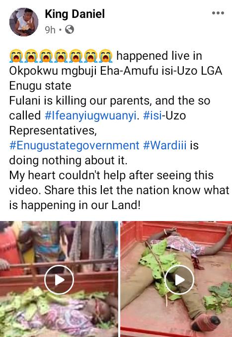 Suspected Fulani herdsmen attack Enugu community, hack pregnant woman, 7 others to death, destroy farmlands