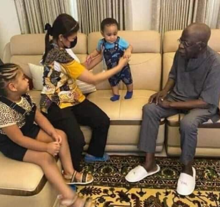 Lovely photo of Bola Tinubu with his grandchildren in London