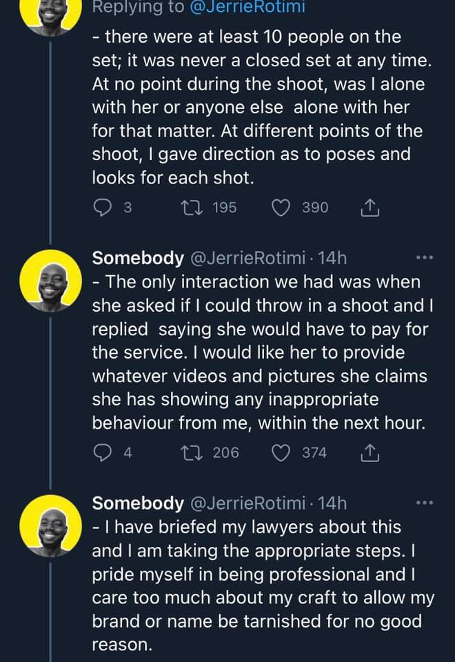 Photographer threatens lawsuit after a model accused him of touching her