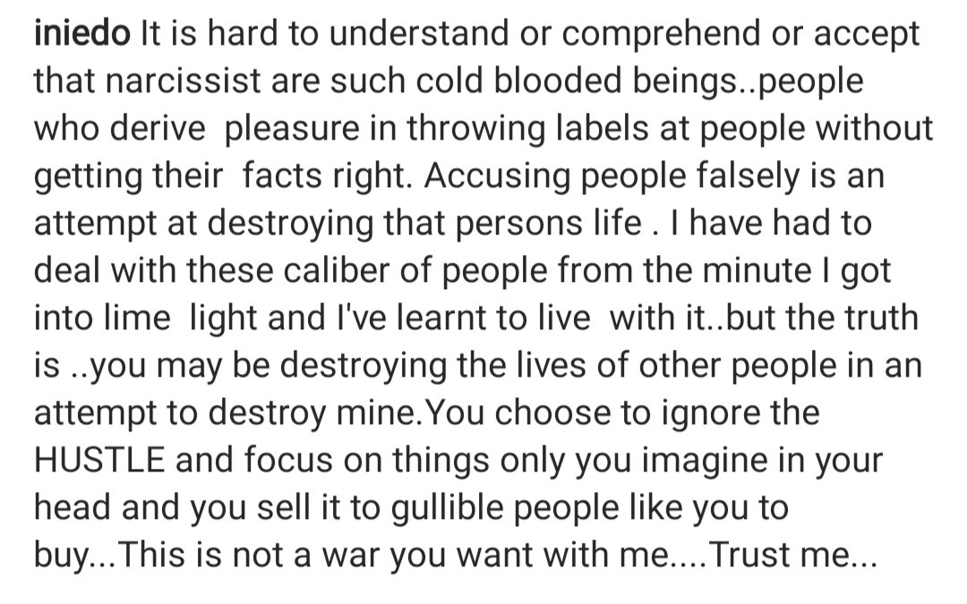 """""""You may be destroying the lives of other people in an attempt to destroy mine"""" Ini Edo writes amidst rumours she"""