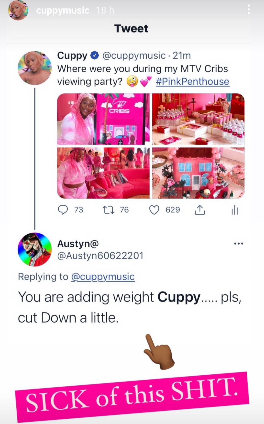 DJ Cuppy responds to a weight critic who told her to
