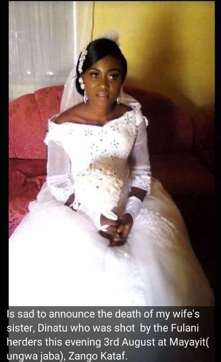 Suspected Fulani herdsmen kill woman 8 months after her wedding in Kaduna