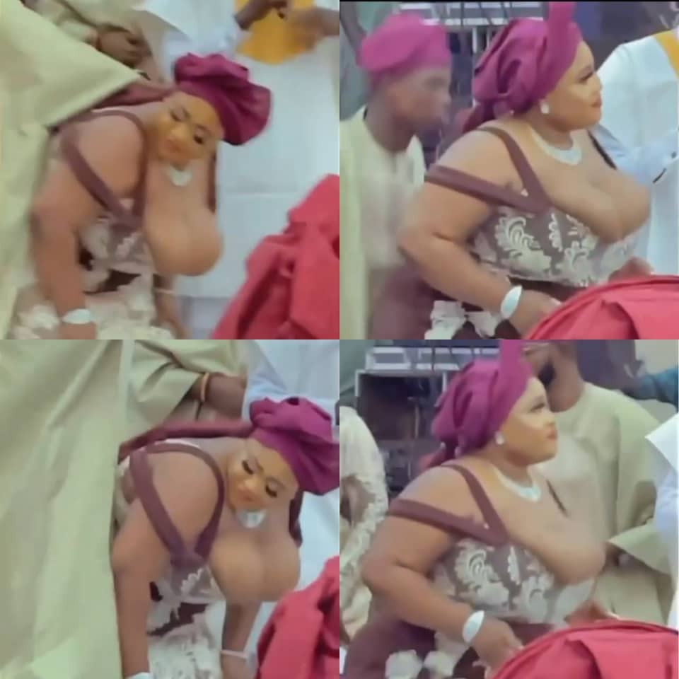 Busty Nigerian lady steals the show at a wedding (video)