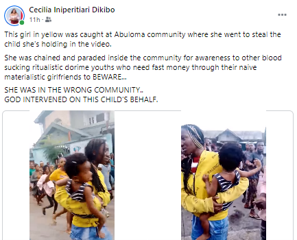 Young lady paraded after she allegedly stole a child in Rivers state (video)