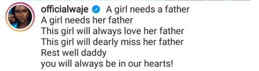 Singer, Waje, loses dad