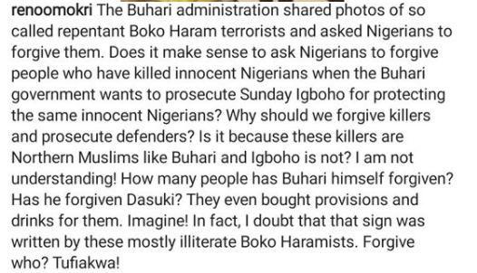 Reno Omokri reacts to photos of surrendered Boko Haram members seeking forgiveness from Nigerians
