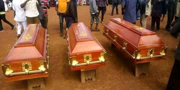 Remains of three persons who died in motor accident laid to rest amidst tears in Plateau state