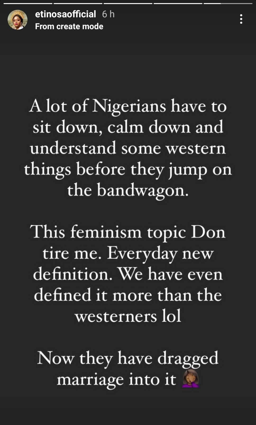 """""""Nigerians have to understand western things before jumping on the bandwagon"""" Etinosa speaks on feminism"""