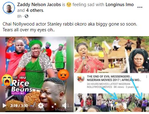 Nollywood actor, Stanley Rabbi Okoro, has died