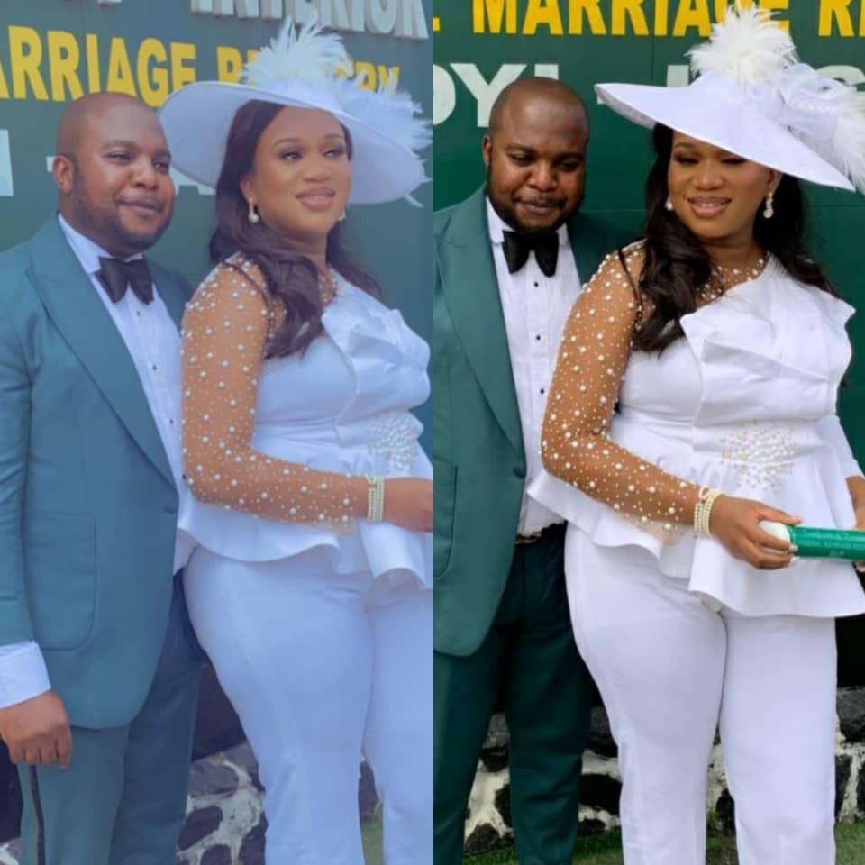 Photos from the court wedding of businesswoman, Sandra Iheuwa, to her man, Steve Thompson