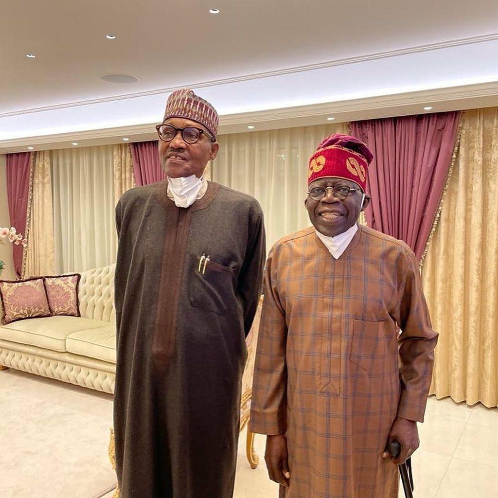 President Buhari visits Bola Tinubu in London (photos/video)