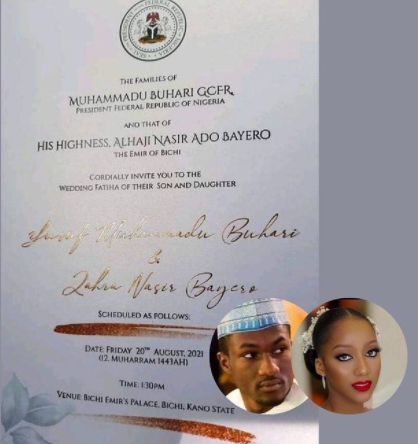 See the wedding invitation letter of President Buhari