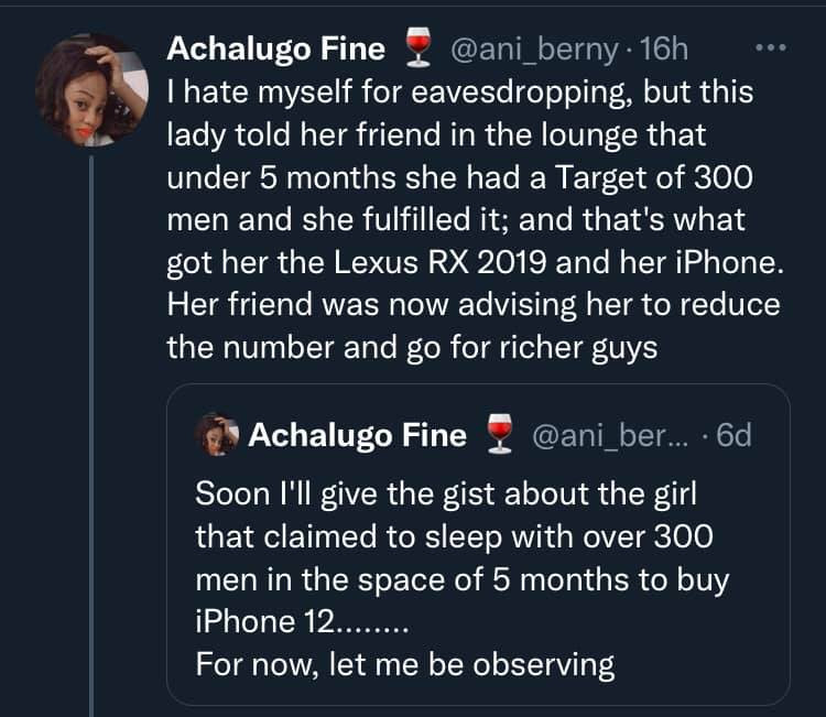 Lady reportedly sleeps with 300 men in 5 months to buy an SUV and iPhone 12