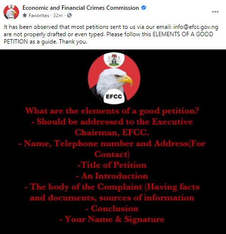 EFCC educates Nigerians on how to properly write a petition to the agency