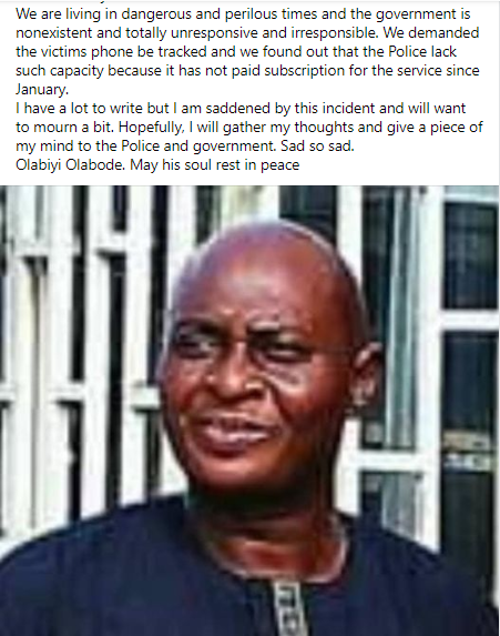 Freed engineer, Ayodele Alabi, dies a day after N4.5 million was paid to kidnappers