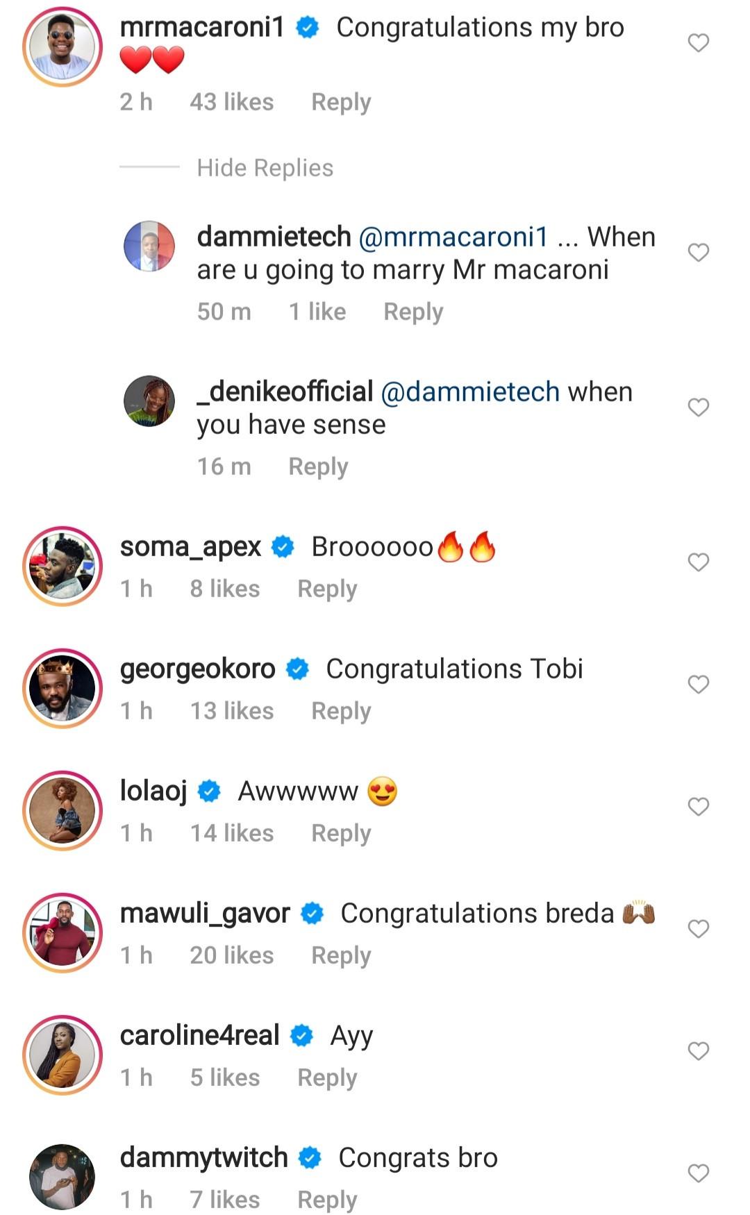 Congratulatory messages pour in as Tobi Bakre shares prewedding photo