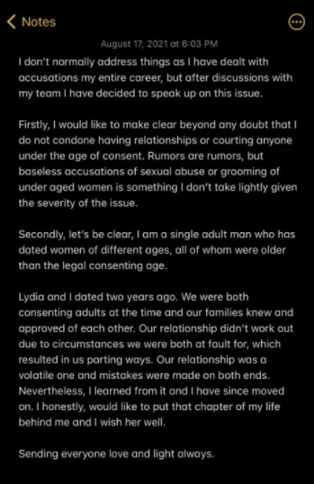 Timini Egbuson reacts after his ex-girlfriend called him a pervert and cradle snatcher who targets naive young women for relationships