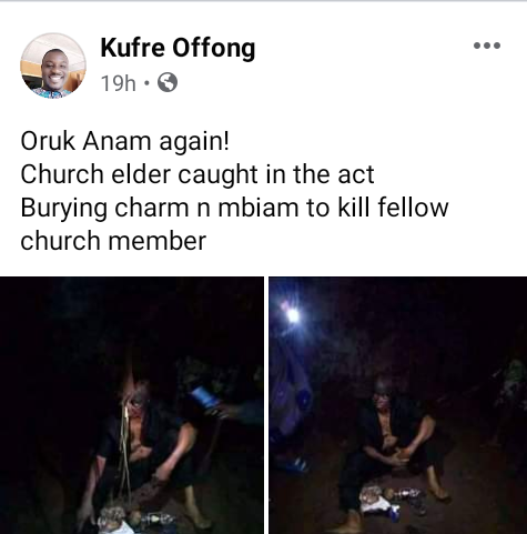 Church elder allegedly caught burying charms at village square in Akwa Ibom