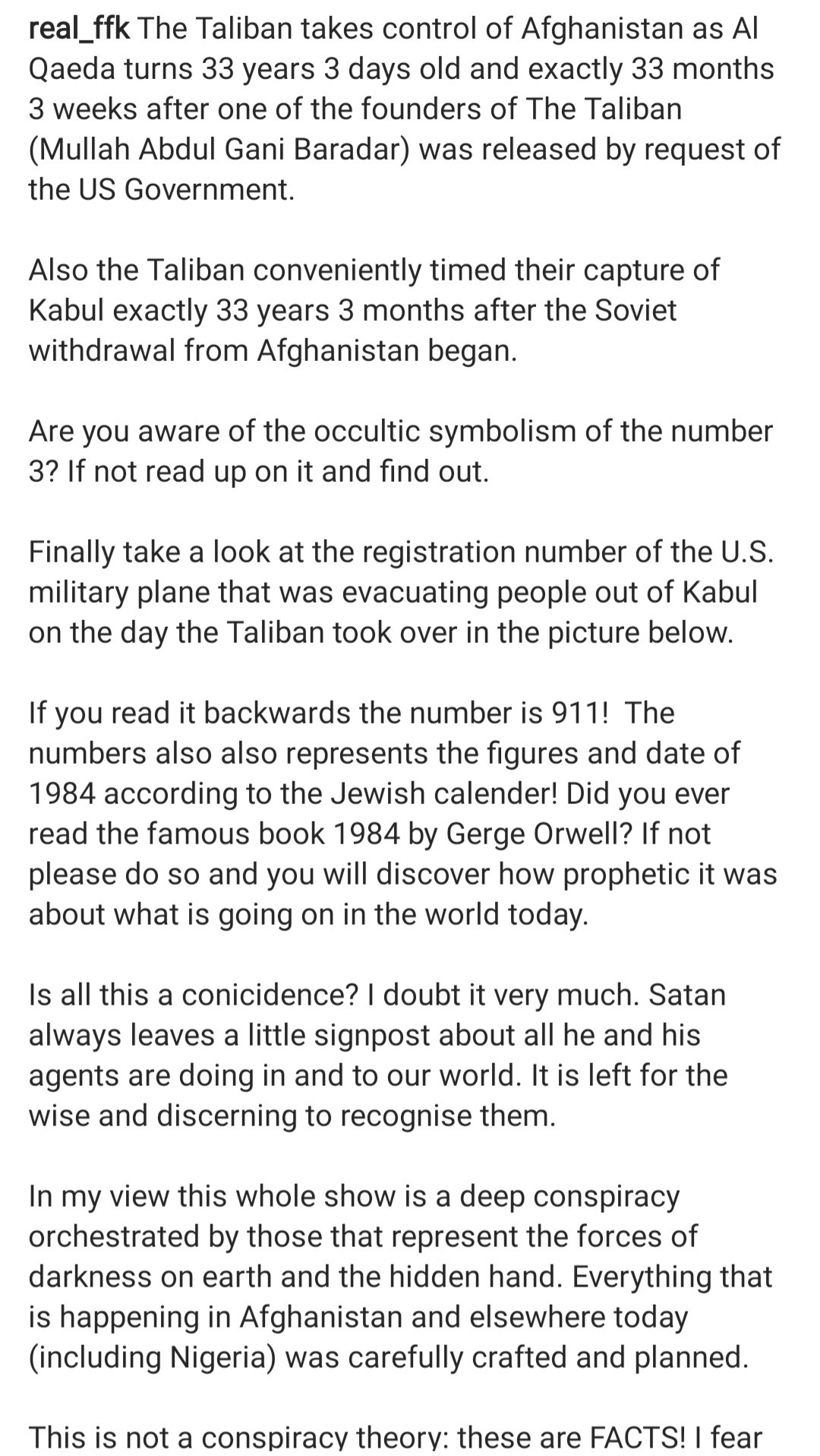 FFK shares conspiracy theory about the symbolism of the day Taliban overthrew the Afghanistan government