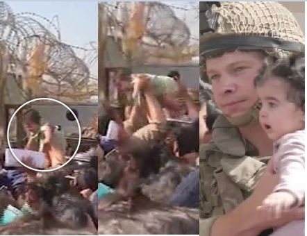Afghan mums throw their babies over barbed wire fences and beg British soldiers to take them to safety