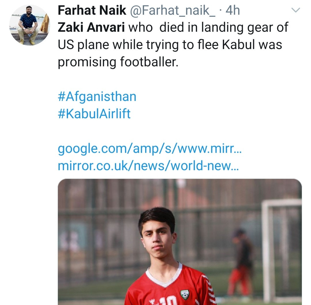 Afghan footballer dies after stowing away to flee?Kabul with