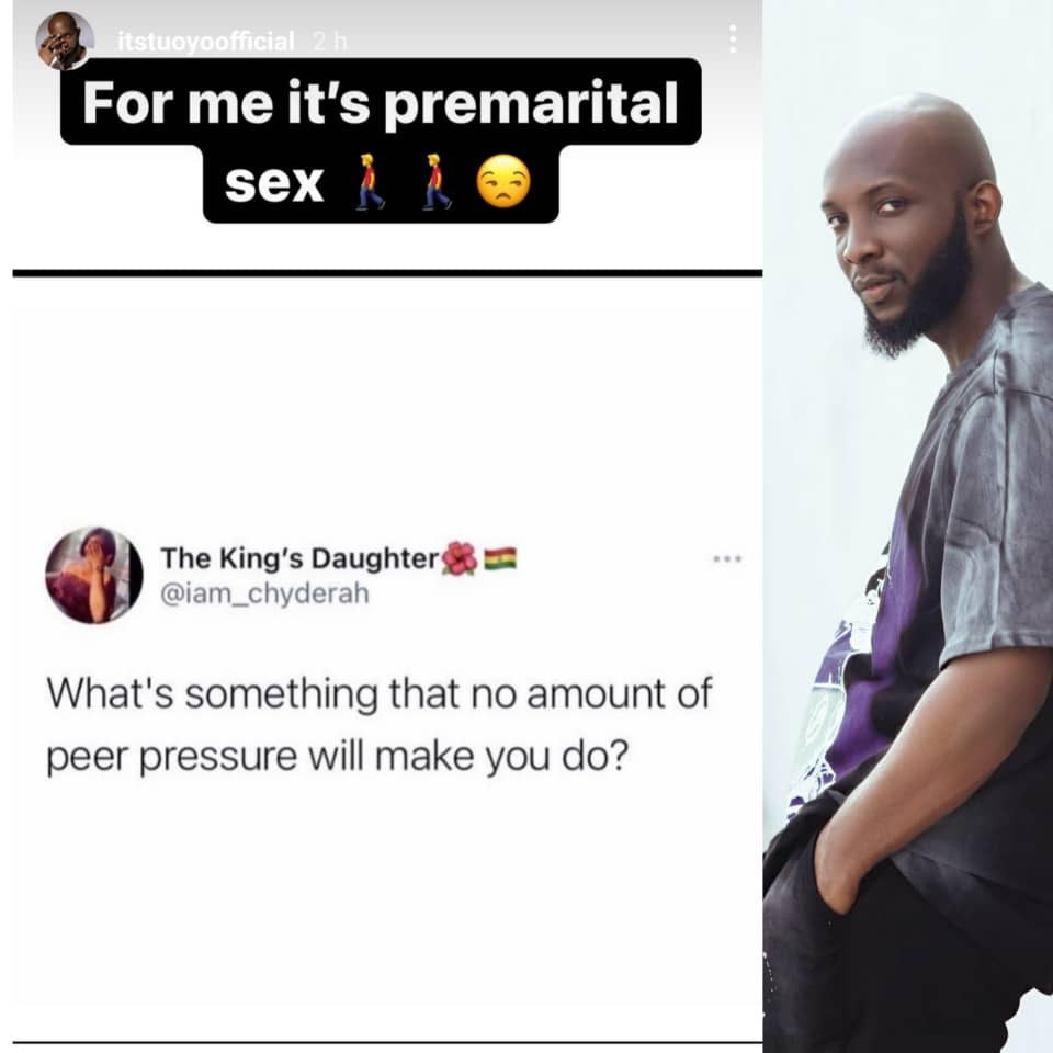 Reality TV star, Tuoyo, claims peer pressure can never make him engage in premarital sex