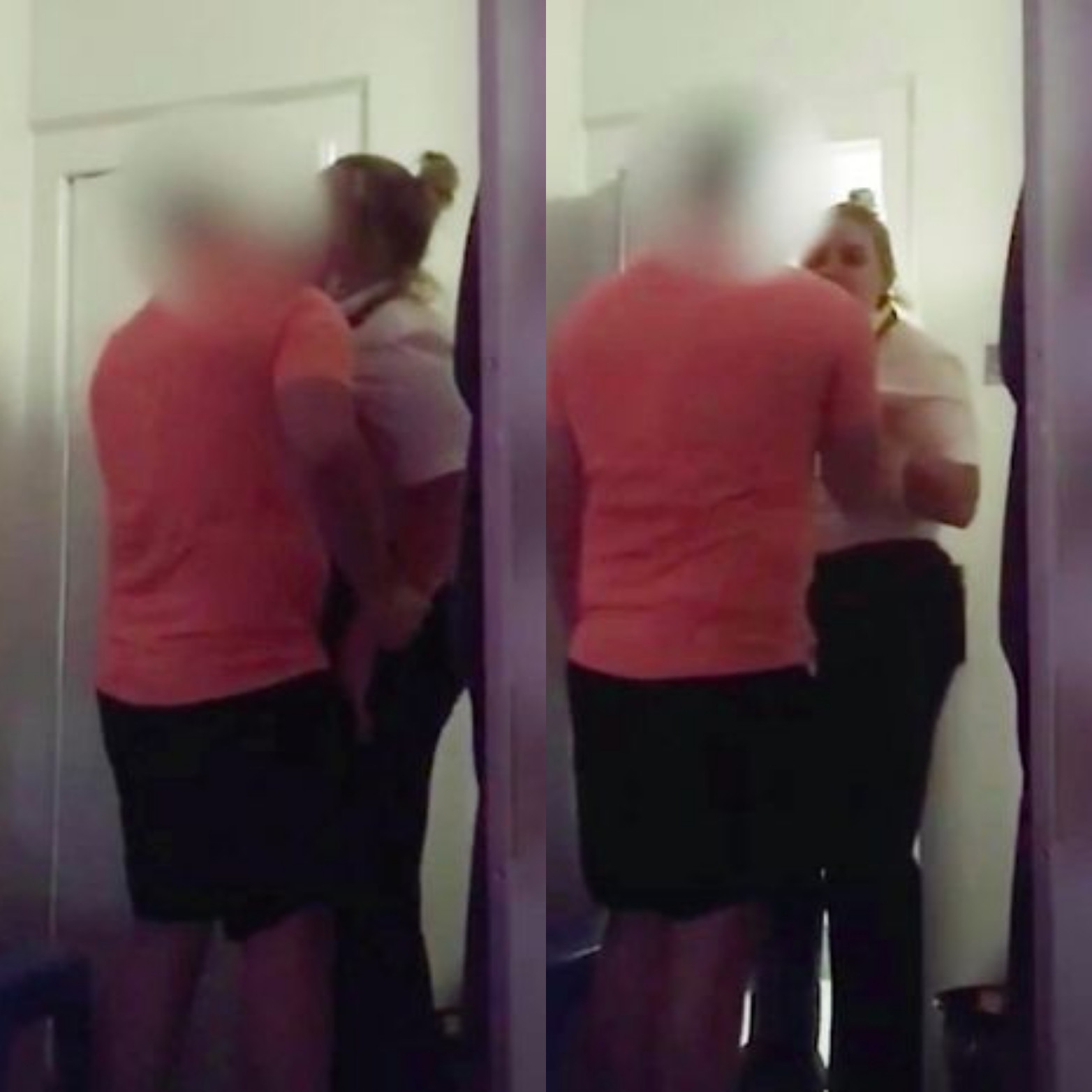 Female prison warder filmed kissing an inmate in his cell (video)