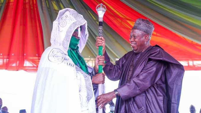 Ganduje presents staff of office to Buhari?s in-law as Emir of Bichi