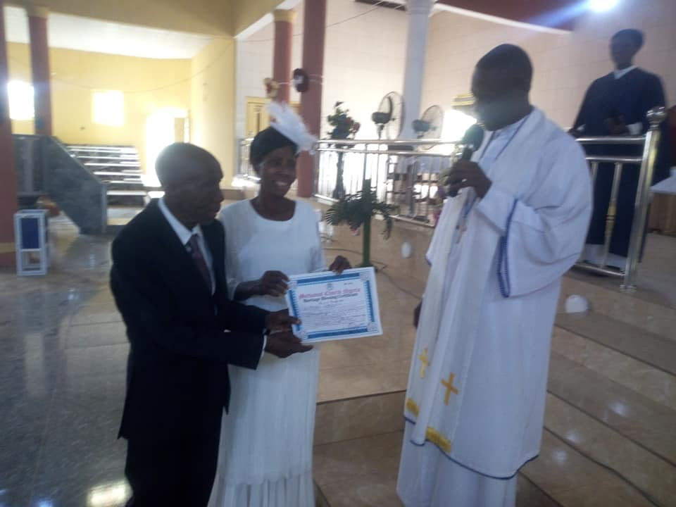 99-year-old Nigerian man weds his 86-year-old partner in church after decades together (photos)