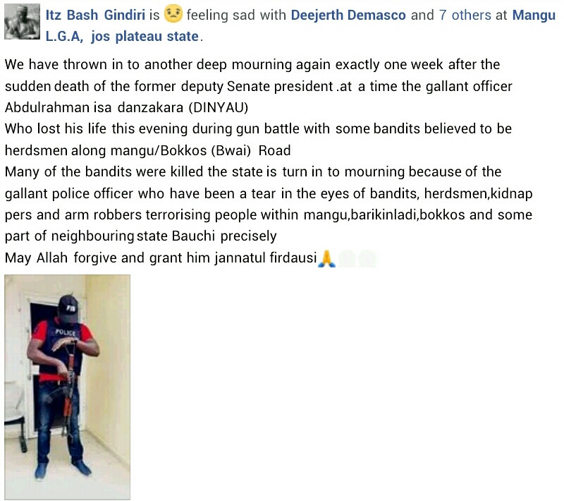 Police officer, vigilante and six bandits die in gun battle in Plateau state
