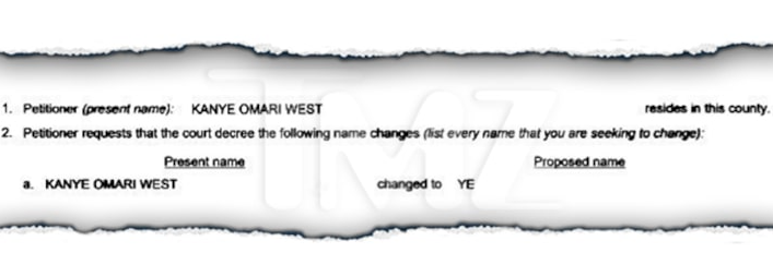 Kanye West officially files to legally change his name to Ye