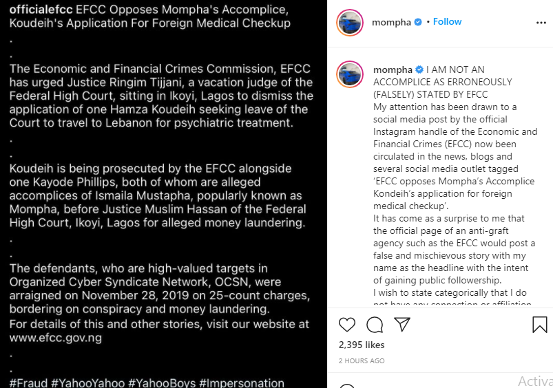 Hamza Koudeih: I am not an accomplice - Mompha replies EFCC