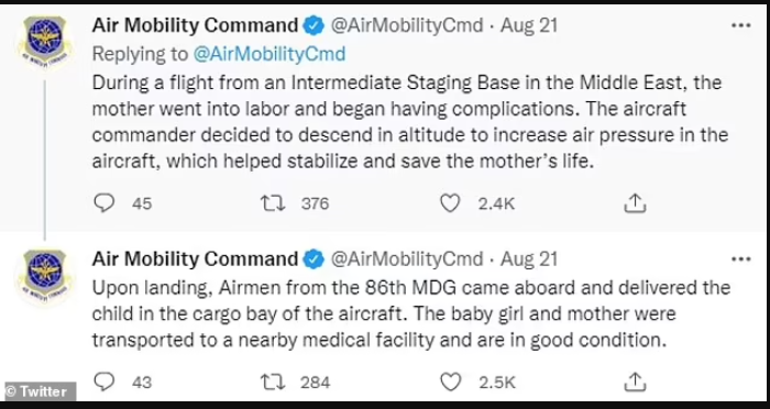 Baby girl born on evacuation plane after her mother fled Afghanistan is named Reach after the aircraft