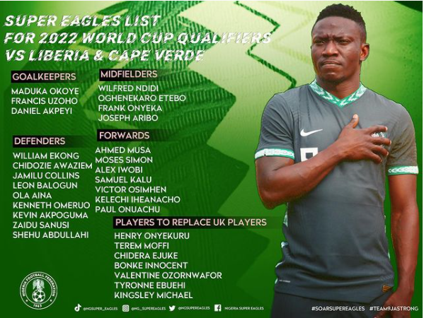2022 World Cup qualifiers: Nigeria announce 30-man squad for Liberia and Cape Verde