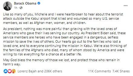 Barack Obama réagit aux attaques terroristes en Afghanistan