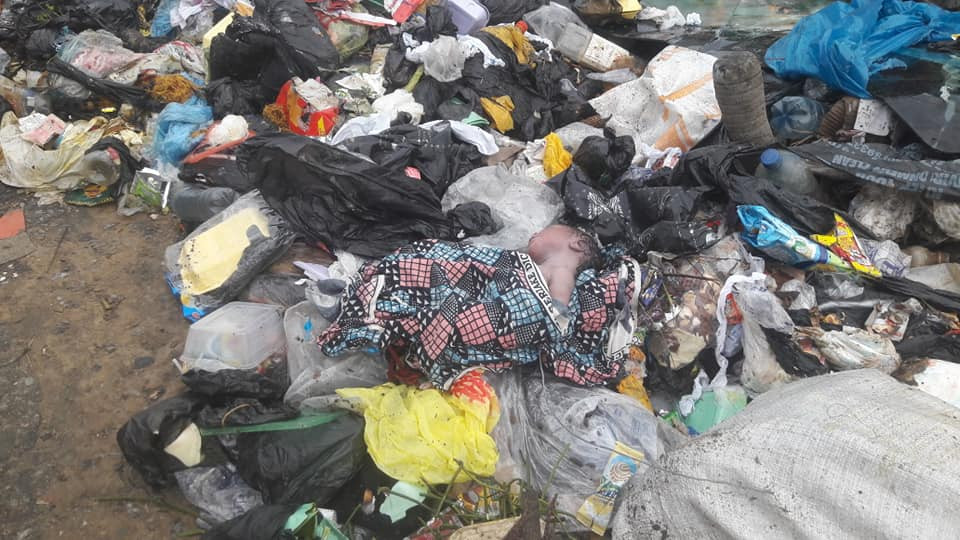 Newborn baby abandoned at dump site in Bayelsa cries to death (photos)